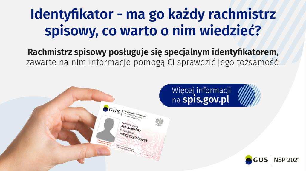 Banner informujący jak wygląda identyfikator rachmistrza spisowego