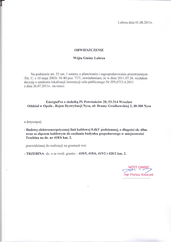 Obwieszczenie Wójta - Budowa elektroenergetycznej linii kablowej 0,4kV do zasilania budynku gospodarczego w miejscowości Trzebina.jpeg