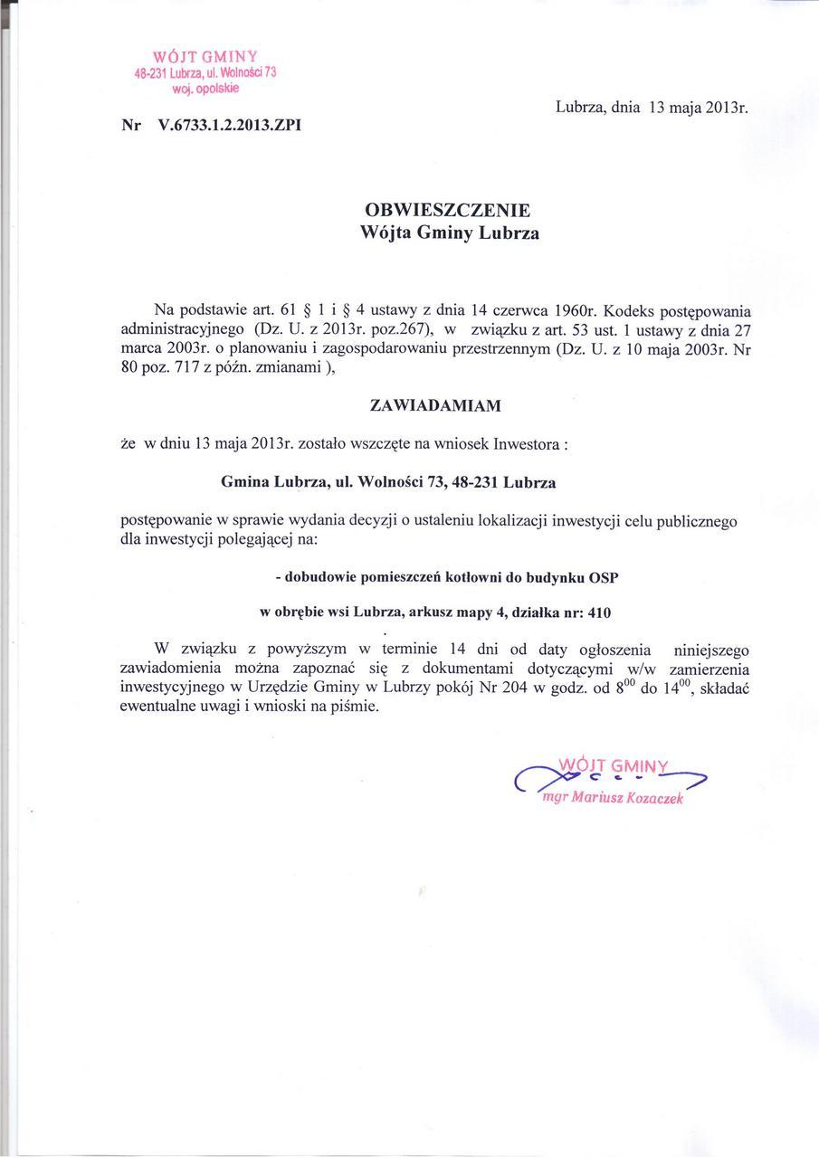 Obwieszczenie Wójta V.6733.1.2.2013.ZPI.jpeg