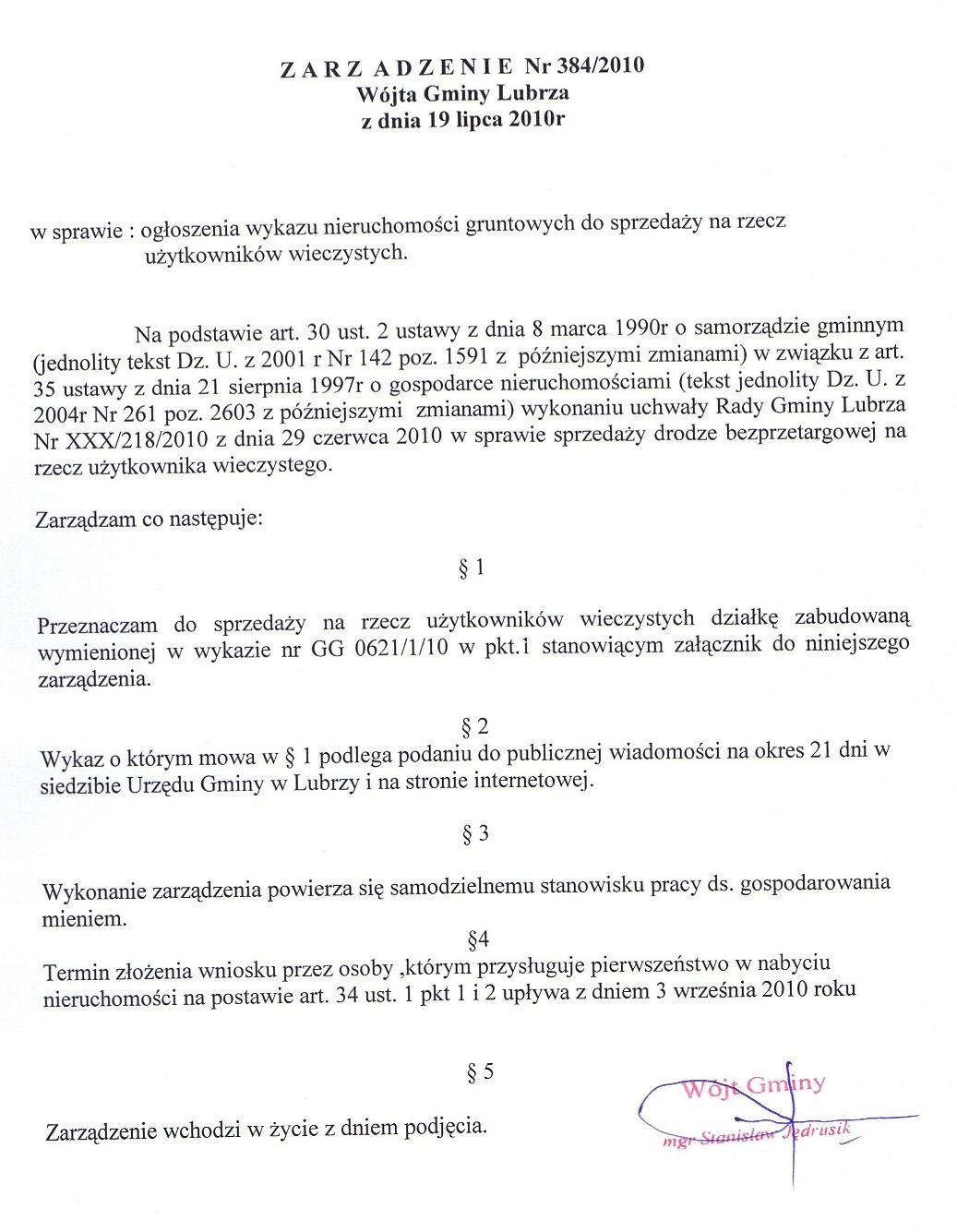 zarzadzenie  Nr 384-2010 w sprawie wykazu nieruchomości do sprzedaży.jpeg